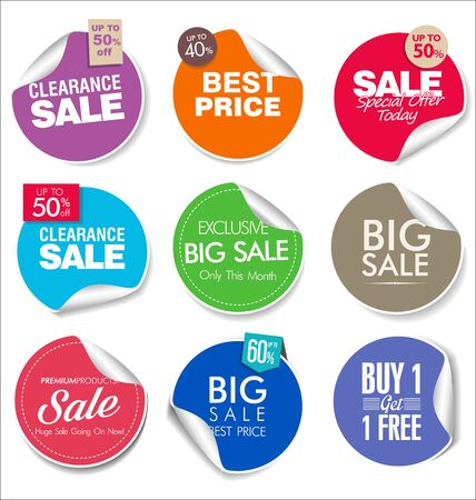modern colorful sale stickers collection Stockfoto - 133354758