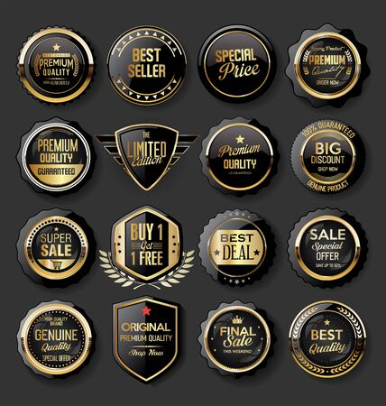 Sammlung von goldenen Abzeichen und Etiketten