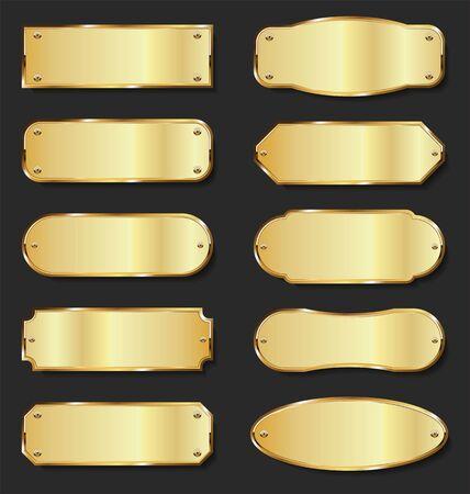 collection de plaques de métal doré sur fond noir
