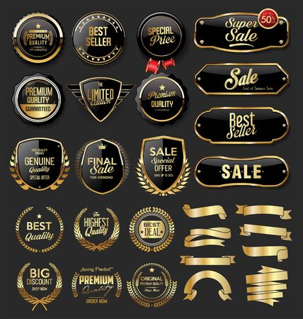 Gold and black badges and labels