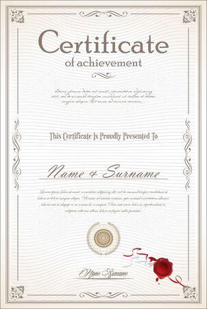 certificaat of diploma retro design