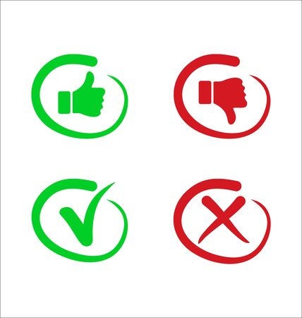 Confirm and deny checkmark and x icon button