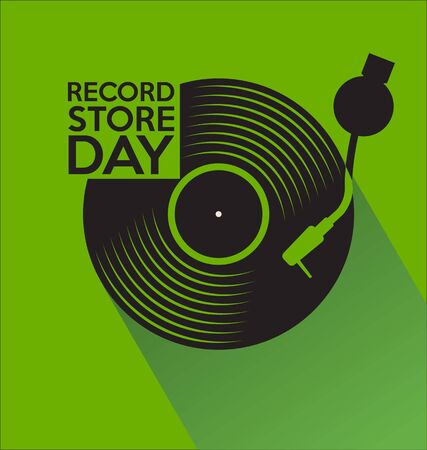 retro vinyl record store day background Иллюстрация