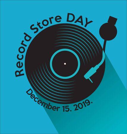 retro vinyl record store day background Illustration