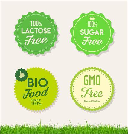 Healthy natural food labels organic tags