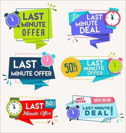 modern colorful tags and stickers last minute offer 일러스트