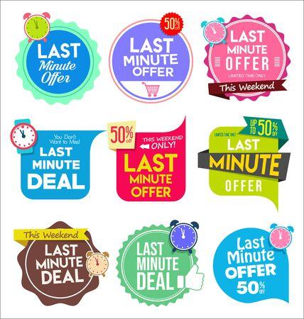 Moderne kleurrijke tags en stickers last minute aanbieding