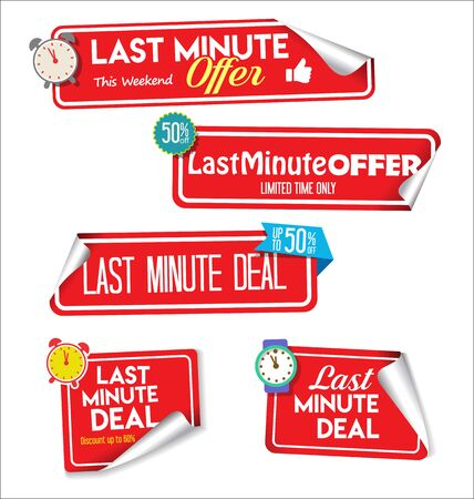Modern colorful tags and stickers last minute offer