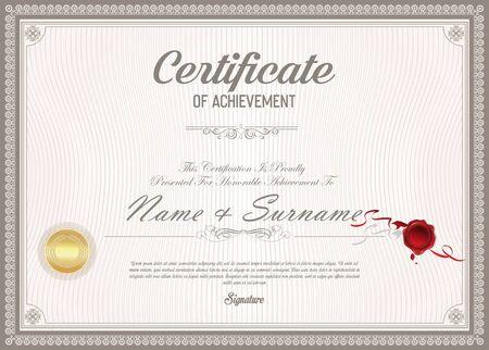 certificate or diploma retro design 向量圖像