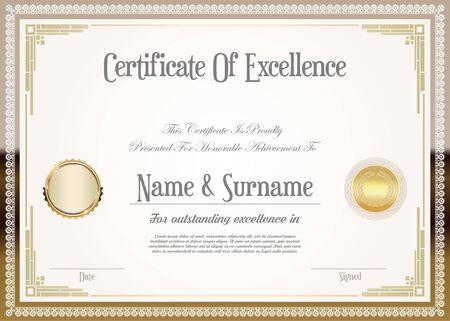 certificat ou diplôme design rétro