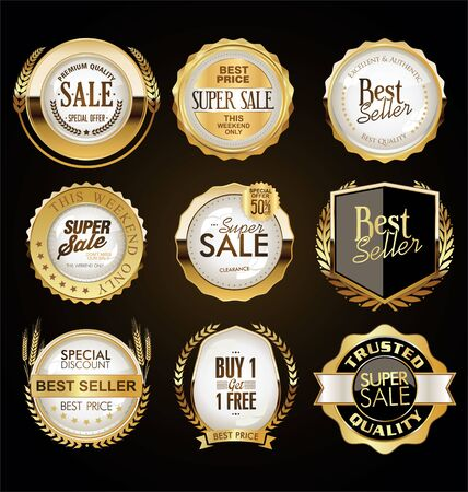 Golden badges and labels 向量圖像