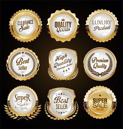 Golden badges and labels Ilustrace