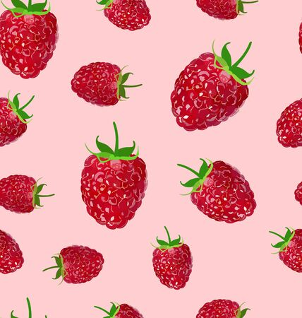 Raspberry  fruit on a white background seamless pattern Stock fotó - 138296367