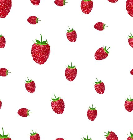 Raspberry  fruit on a white background seamless pattern