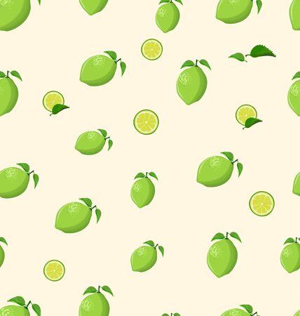 Lemon fruit on a white background seamless pattern Ilustração
