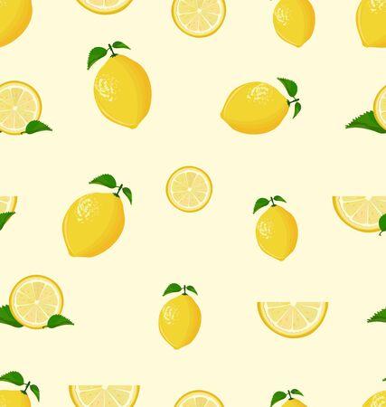 Lemon fruit on a white background seamless pattern Illusztráció