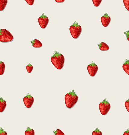 Strawberry fruit on a white background seamless pattern Foto de archivo - 138296371