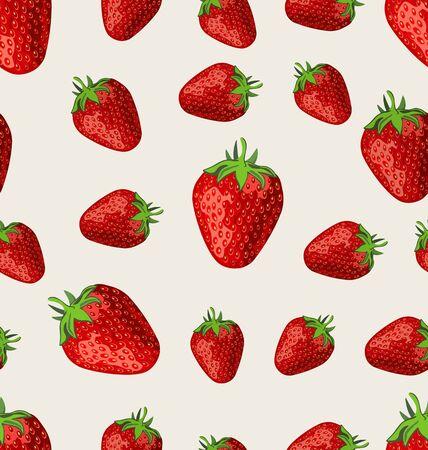 Strawberry fruit on a white background seamless pattern Ilustração