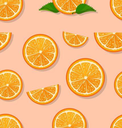 Oranges slices on a white background seamless pattern Ilustração