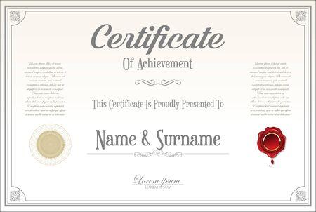 certificado o diploma de diseño retro Ilustración de vector