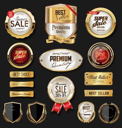 Golden badges and labels Ilustracja