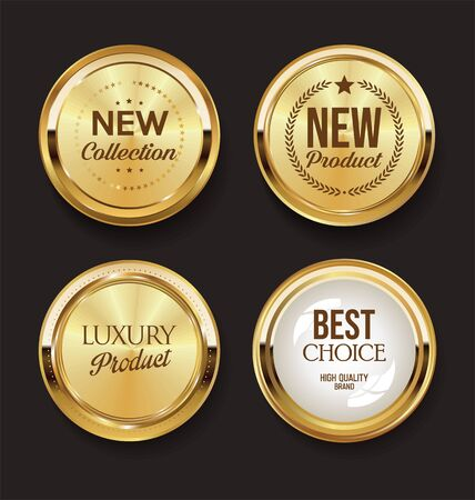 Insignes et étiquettes dorés de luxe premium Vecteurs