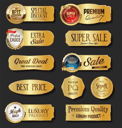 Golden sale labels collection on black background