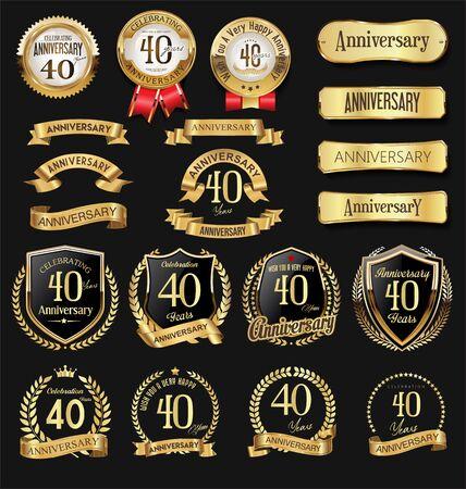 Collection of anniversary golden Vector Illustratie