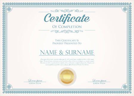 certificate or diploma retro design Vektorgrafik