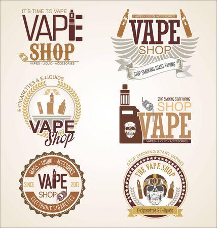Collection of Vape shop labels retro vintage design 向量圖像