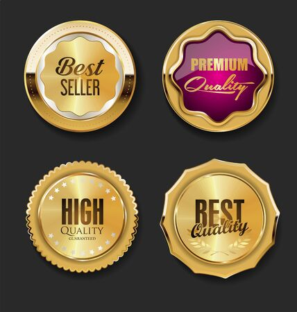 Luxury premium golden badges and labels Vektorové ilustrace