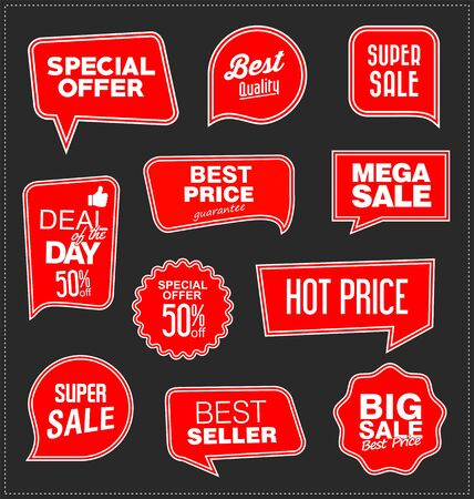 modern red sale stickers collection 向量圖像