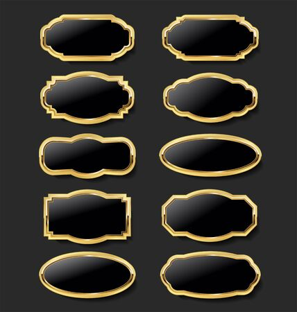 collection gold and black plates retro style 向量圖像