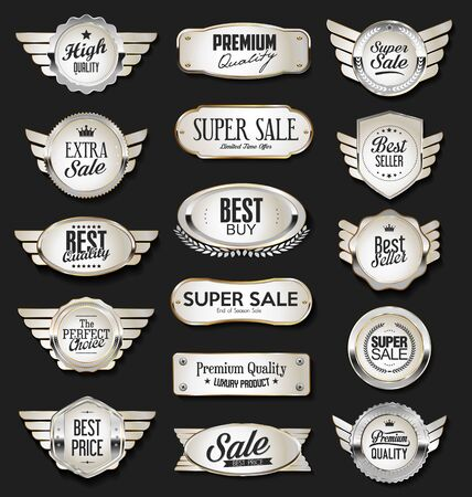 Collection of silver shields badges and labels