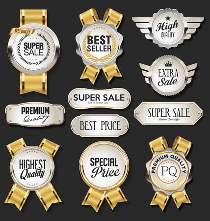 Collection of silver and gold badges and labels