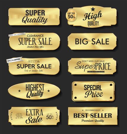 Collection of golden metal plates labels