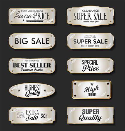 Golden plates premium quality golden collection 向量圖像
