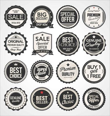 Retro vintage badges and labels black collection