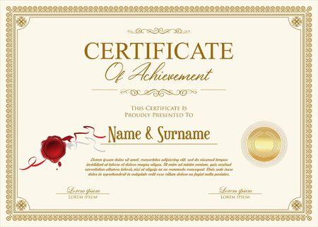 certificate or diploma retro design Vector Illustratie
