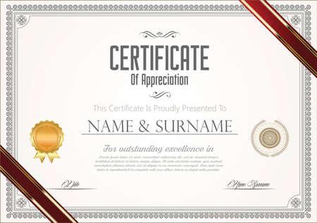Certificate or diploma template retro vintage design
