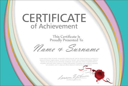 Certificate or diploma retro vintage design 向量圖像