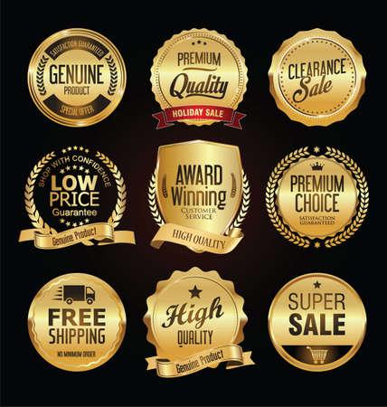 Retro vintage golden badges labels and shields Vetores