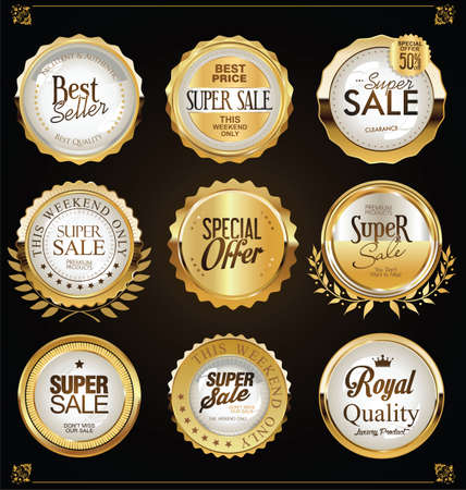 Retro vintage golden badges labels and shields