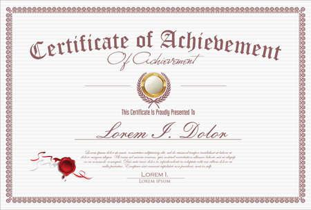 Certificate or diploma retro vintage design 矢量图像