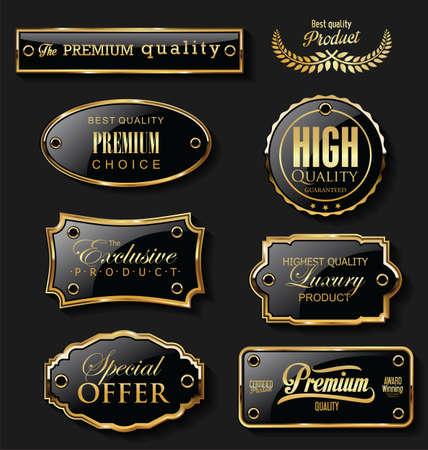 Gold and black sale labels retro vintage design collection Vettoriali