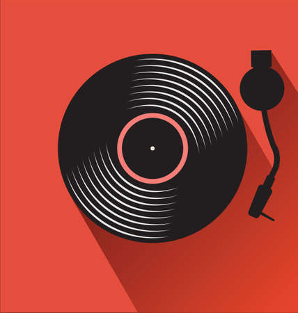 Old black vinyl record and turntable  background