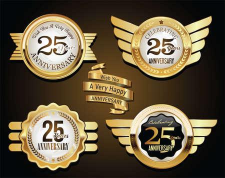 Collection of Anniversary Golden retro vintage Vettoriali
