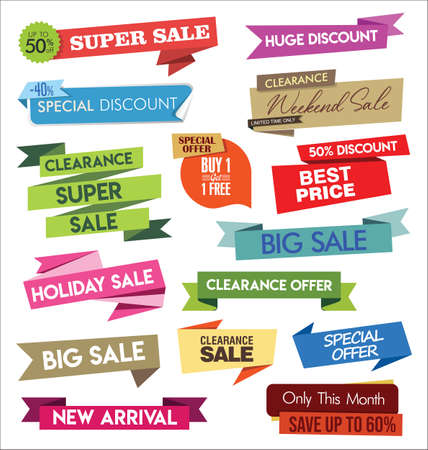 Modern sale banners and labels colorful collection Vettoriali