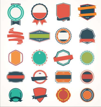 Illustration set of vintage Label Banner Tag Sticker Badge and Ribbons
