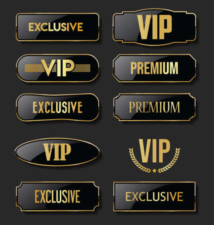 Exclusive VIP and Premium black and gold labels collection Vettoriali